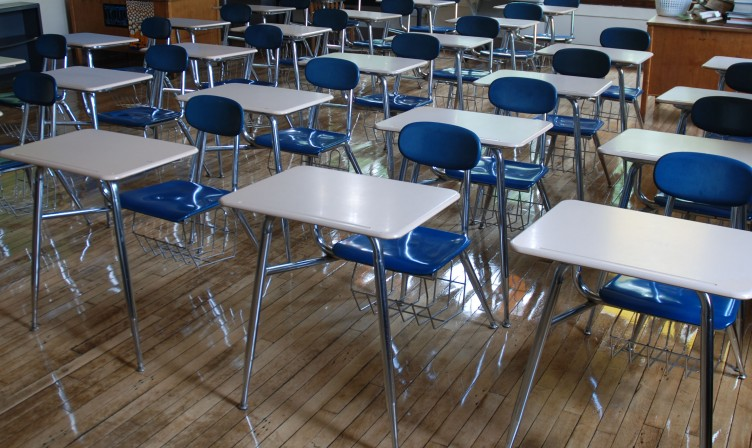 empty classroom desks