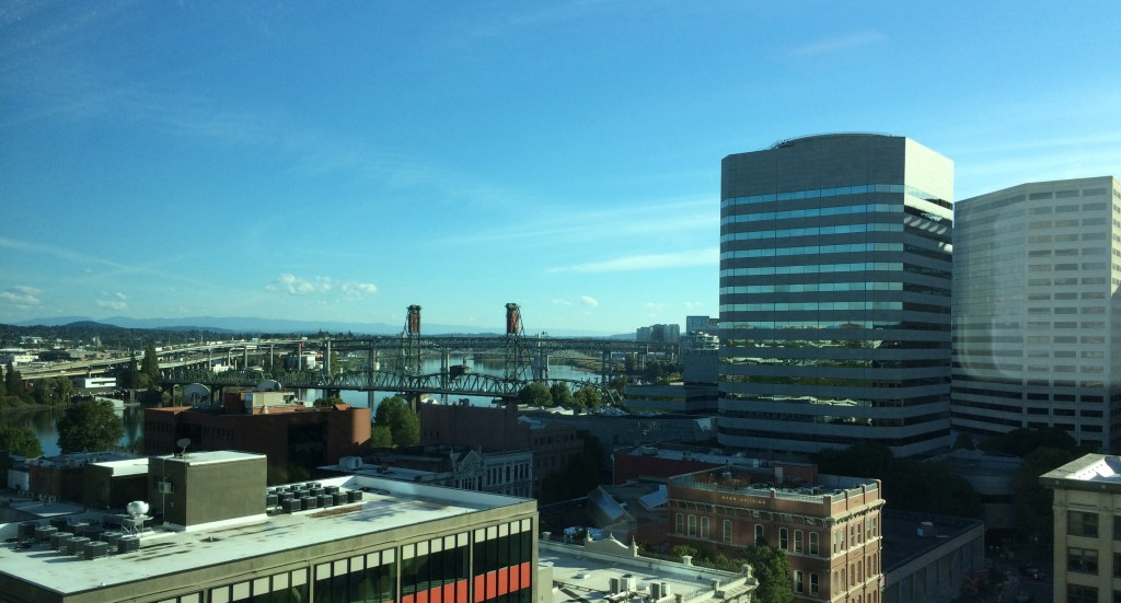 Rooftop view of Portland Downtown Buildings And Bridges
