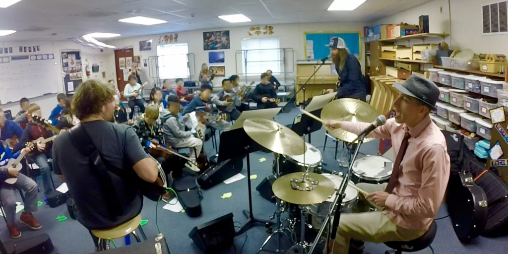 Ventura Park students, Scott Pemberton and VP music teacher, Mr. Kleiner playing music together