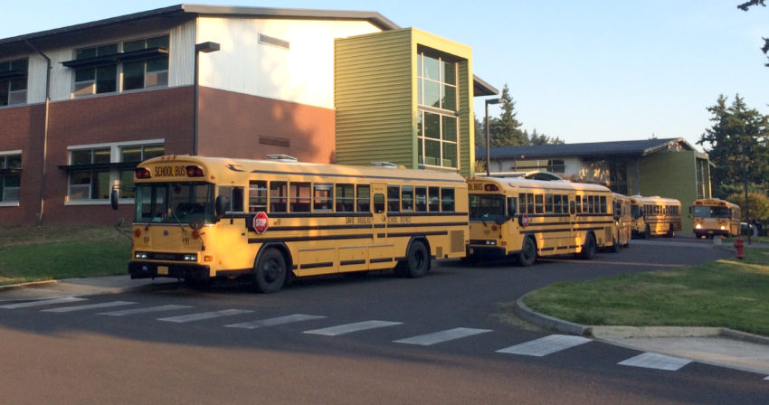 School Buses Parked at Middle School