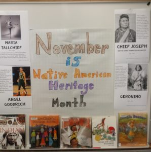 Bulletin Board and books displayed at GP for Native American Heritage Month