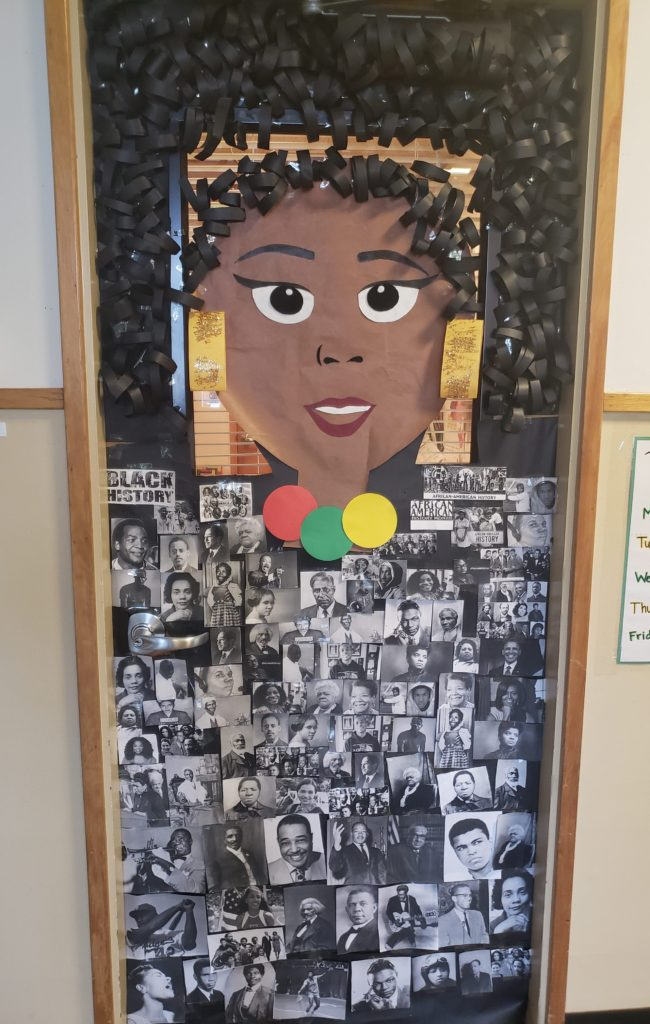 The Family Resource room door decorated for Black History Month