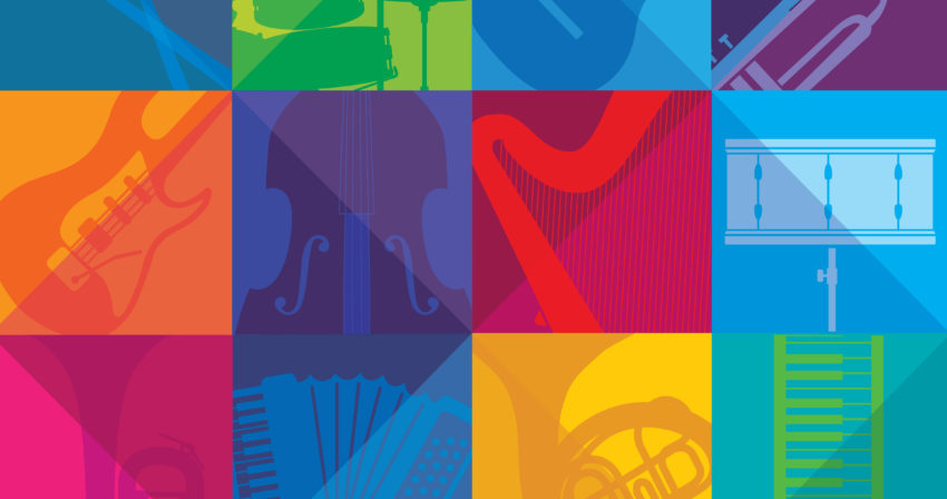 Colored squares with a variety of instruments