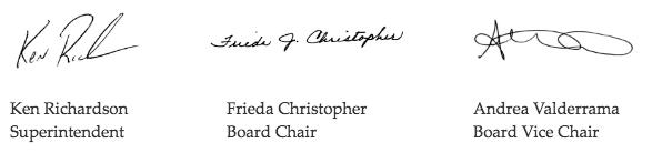 Signatures of Ken Richardson, Frieda Christopher and Andrea Valderrama