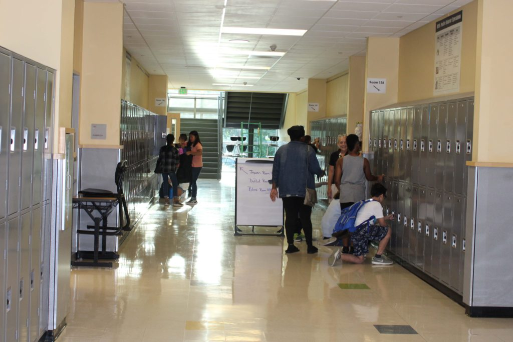 RRMS hallway with students at their lockers