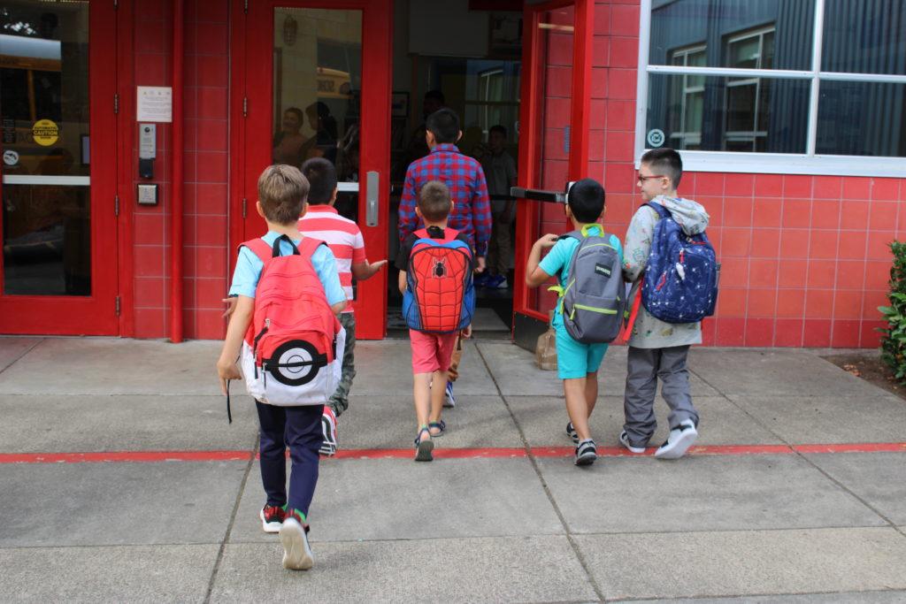 WP students walking through the front door