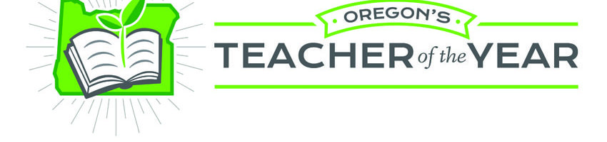 Oregon Teacher of the Year logo (Oregon icon with plant sprouting out of a book)