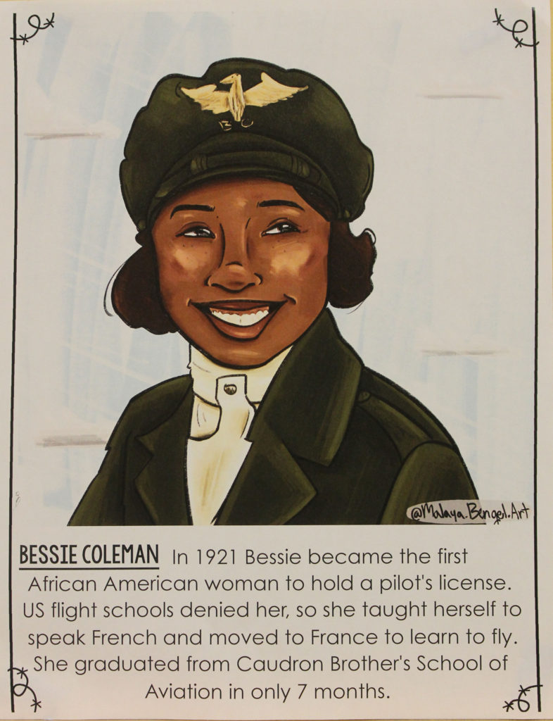 Illustration and bio of Bessie Coleman, hanging on school wall