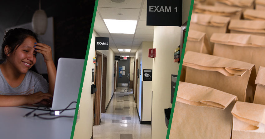 Collage of 3 photos: Student at home computer, health center hallway and sack lunches