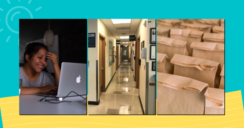 Collage of 3 photos: Student on laptop at home, health center hallway and sack lunches on a summery color background