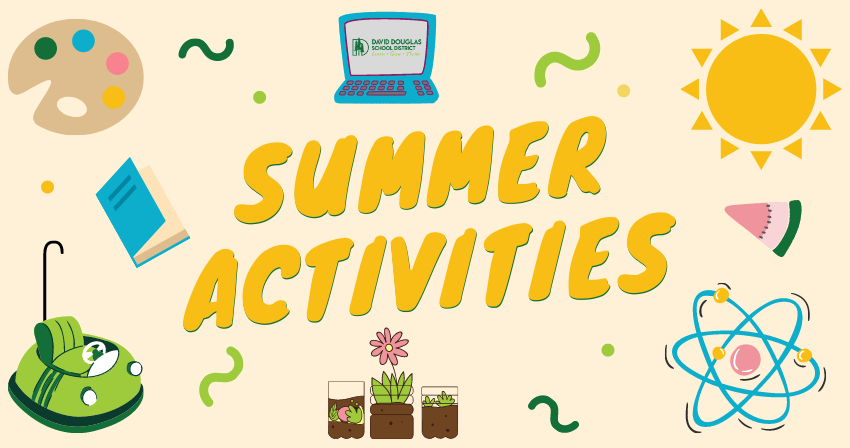 Colorful collage - Summer Activities surrounded by clipart (sun, watermelon, flower, bumper car, molecule, paint palette