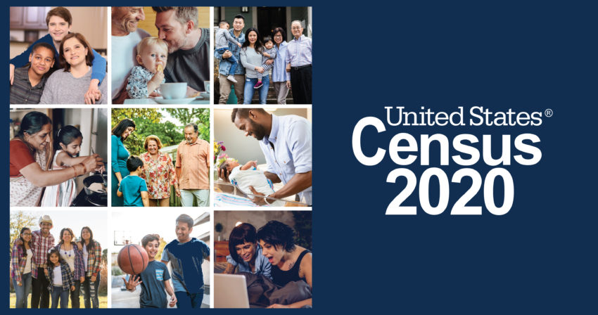 US census banner with a collage a collection of people
