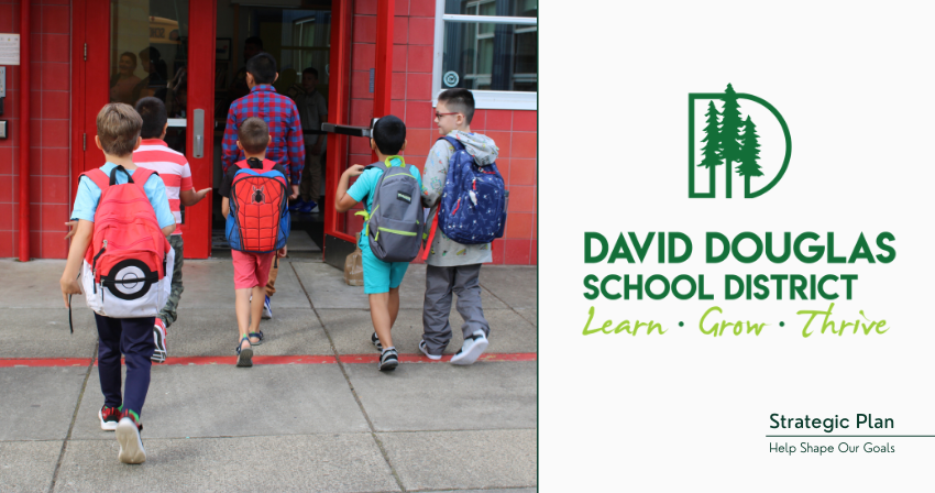 Elementary Boys walking into school building; DDSD Logo and text: Strategic Plan; Help shape our goals
