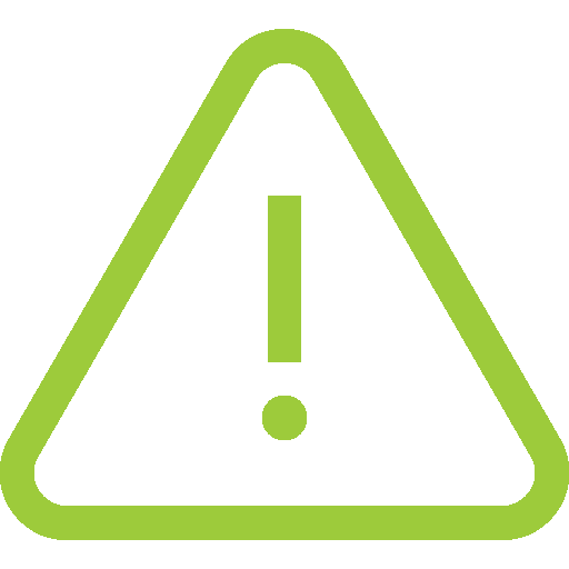 Alert icon: A green ! inside of a triangle