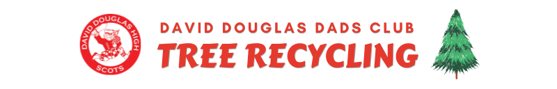 David Douglas Dads Club Tree Recycling Words with logo and pine tree