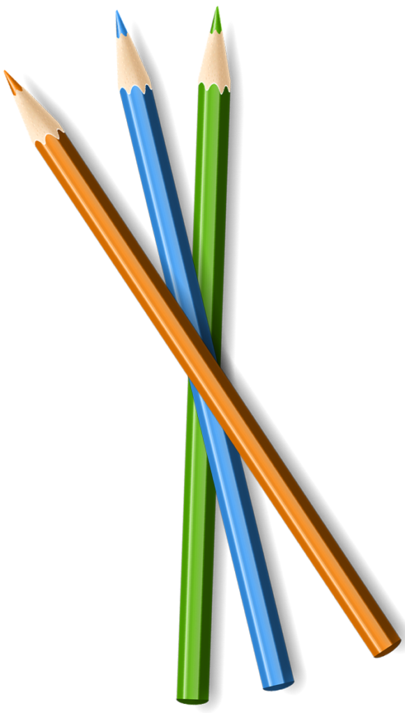 blue, orange and green colored pencil crisscrossed
