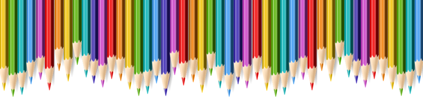 Row of colored pencils (border format)