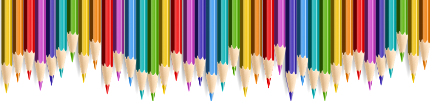 Row of colored pencils side by side