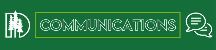 DDSD Logo with the word Communications and talk bubble icons