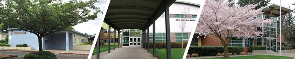 Collage of 3 school building entrances: Mill Park, Ron Russell and Fir Ridge Campus