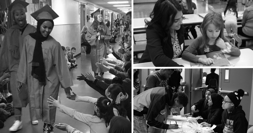 Three photo collage: graduates visiting elementary students in hallway; student reading at a table with a volunteer, multicultural event check in table with students and community members