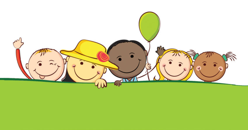 clipart of 5 kids smiling, waving and holding a balloon