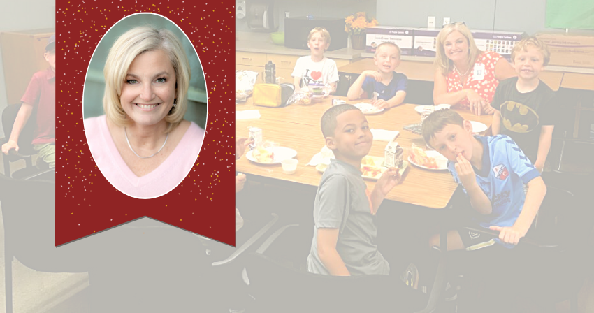 A portrait of Principal Barker in the foreground and a photo of her sitting with students in the background.