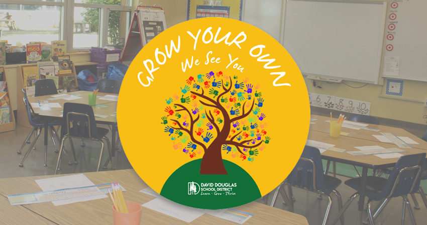 """Grow Your Own Logo (those words with """"We see you"""" and a tree with hands); empty classroom background image"""