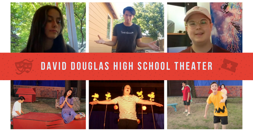 Collage with the words David Douglas High School Theater and 6 snapshots from the two shows' trailers