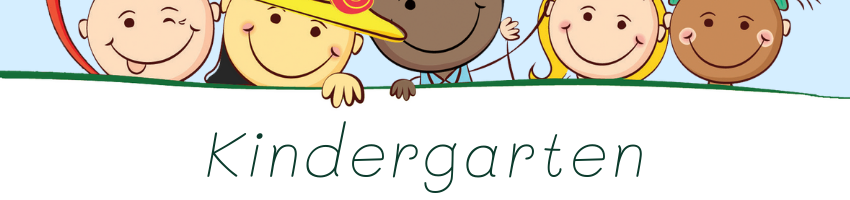Clipart of 5 kids smiling & waving with the words Kindergarten 2021-22