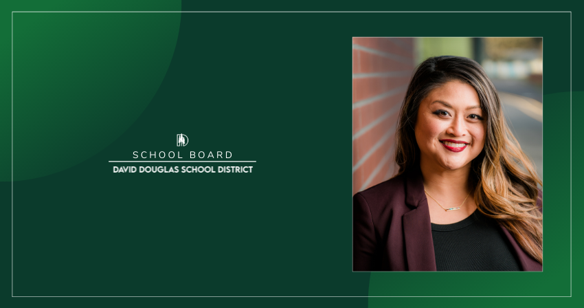Photo of Board Member Hoa Nguyen with the words School Board and David Douglas School District