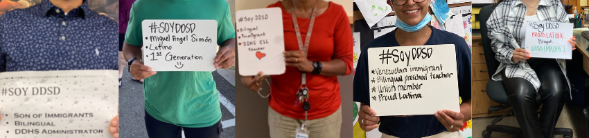 Collage of 5 employee photos holding #soyddsd signs