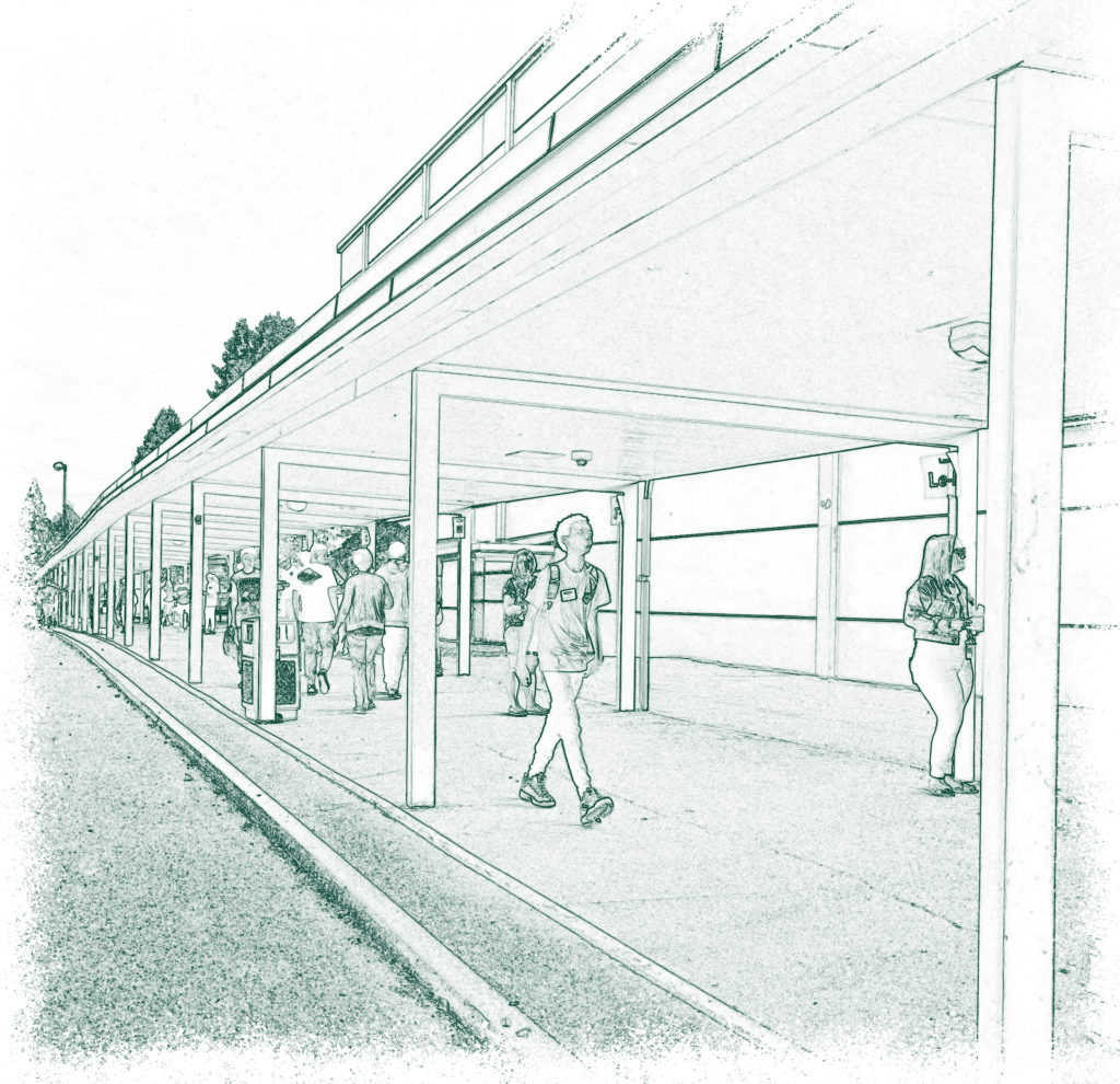 Blueprint style image of highschool covered outdoor walkway with students