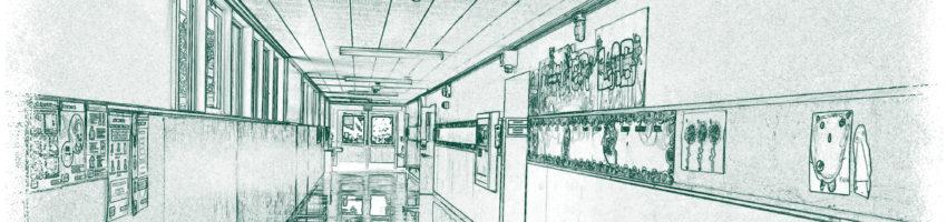 Blueprint style image of elementary hallway